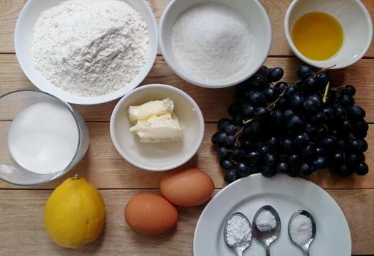 Ингредиенты для пирога с виноградом