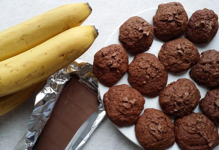 Печенье с бананом и шоколадом
