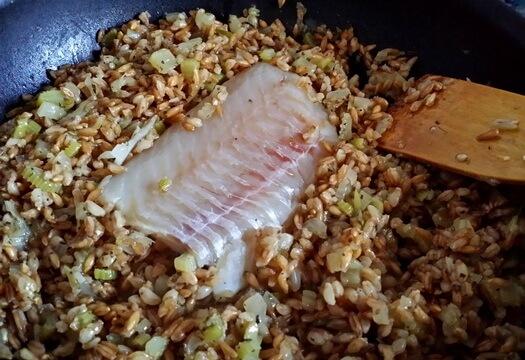 Рыба с полбой на сковороде