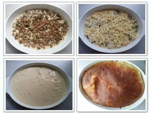 Этапы приготовления заливного пирога из кабачков с фаршем и сыром